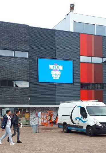 Doelgerichte communicatie via LED wall door Koning Willem I College