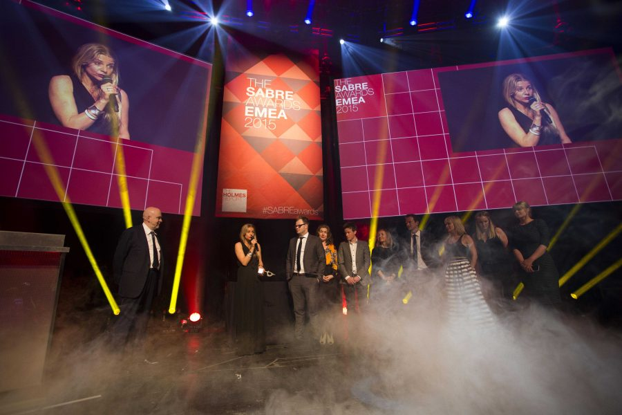 Guests enjoy the Sabre Awards at the Roundhouse in Camden, London. 19th May 2015.