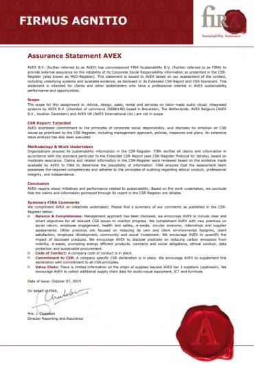 MVO erkenning voor AVEX
